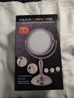 MirrorAmore Lighted Makeup Mirror, 7.5 Inch, 1x/10x Magnifying Mirror with Light, Double Sided, AC Adapter Or Battery Operated, Cord/Cordless for Sale in Las Vegas, NV