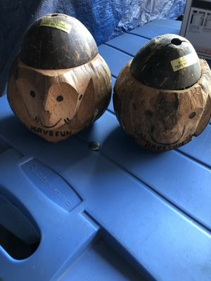 Two hand carved wood coin banks for Sale in Oakwood, GA