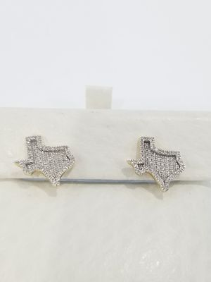 Black Friday Special Real 10k Yellow Gold Diamond Iced Out Texas Symbol Halo Earrings for Sale in Richmond, TX