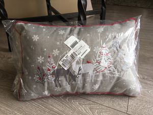 *New* White Christmas Grey Rectangular Throw Pillow for Sale in Palmdale, CA