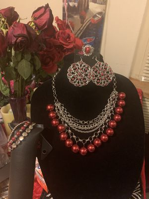 New 4pc color silver with red pearls for Sale in Orange, CA