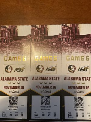 Tickets to the FSU game today for Sale in Tallahassee, FL