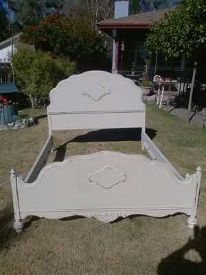 Beautiful shabby distressed solid wood full size bed frame for Sale in San Bernardino, CA