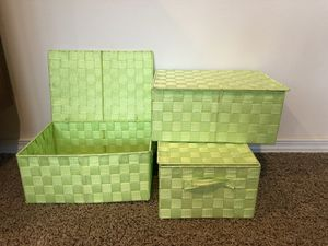Set of 3 Lime Green Storage Baskets for Sale in Snohomish, WA