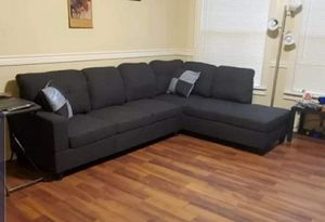 Grey sectional sofa with storage ottoman for Sale in Buena Park, CA
