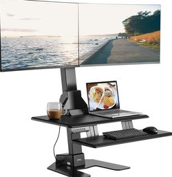 """AVLT Dual 32"""" Monitor Electric Standing Desk with Huge Keyboard Tray Extra Large 28""""x 16"""" Spacious Tabletop Motorized Automatic Height Adjustable for Sale in Temecula,  CA"""