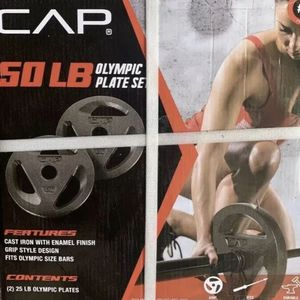 CAP 50 LB Olympic Weight Plate Set (2) 25LB Cast Iron Plates For 2 Inch Barbell for Sale in Tacoma, WA