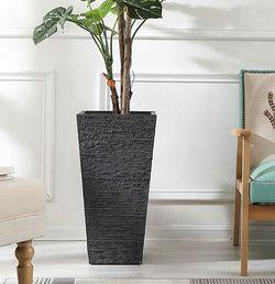 Brand NewGray Stone Finish Tall Tapered Square MgO Planter for Sale in Walnut,  CA