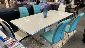 New! 7 pcs modern white Dining Set (Table + 6 Turquoise Chairs) • Same day delivery 🚚 • book an appointment at the showroom or order online• for Sale in North Las Vegas, NV