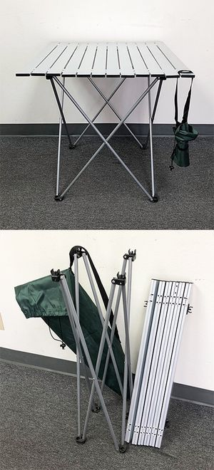 "New $30 Aluminum Roll Up Table Folding Camping Outdoor Indoor Picnic w/ Bag 27""x26""x27"" for Sale in El Monte, CA"