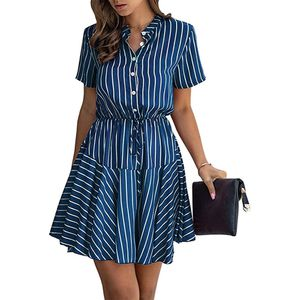 Summer Plaid Stripes Snake Mini Dress Short Sleeves Button Down High Waist A Lined Dress with Belt for Sale in Miami, FL