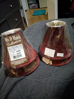 Beautiful Deep Maroon lampshades 4 w/gold detail for Sale in Denver,  CO
