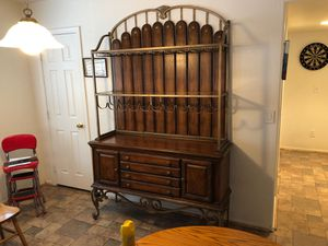 2 Piece Wood/Metal Hutch with Glass Shelves for Sale in Payson, AZ