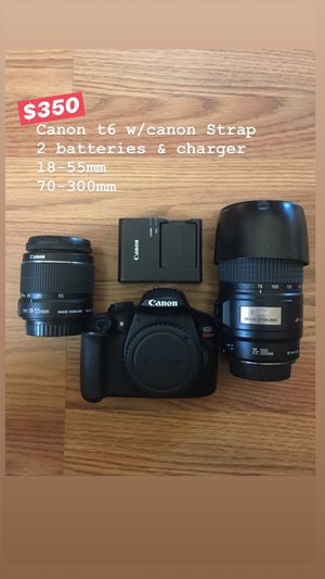 Canon T6 DSLR with lenses for Sale in Lynwood, CA