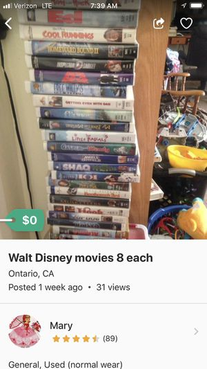 VHS movies all for 15 for Sale in Montclair, CA