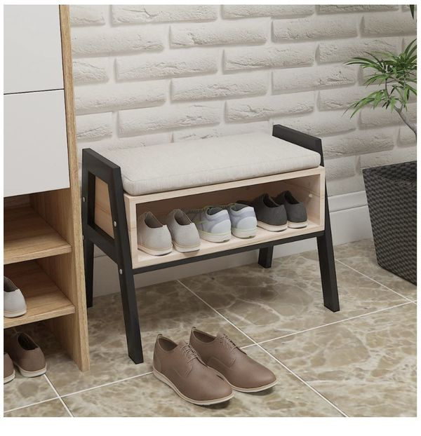 Modern Entryway shoe bench with cushion and storage