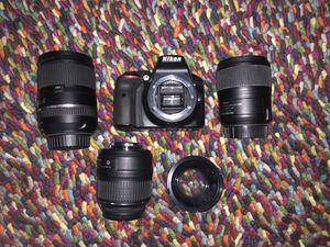 Nikon D3300 camera + 3 lenses & bag for Sale in Austin, TX