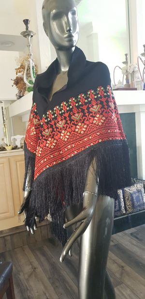 Black Embroidered Shawl / Poncho / Wrap 2 Meters Long with Red or Gold Embroidery and Black Fringe for Sale in Orlando, FL