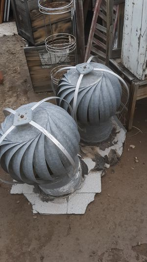 Repurposed fans ???MAKE GREAT SHADE OUTSIDE TABLE BASES SELLING AS ONE LOT AS A PAIR for Sale in Yuma, AZ