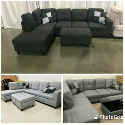 Brand New Linen Fabric Sectionals With Storage Ottoman for Sale in Kent,  WA