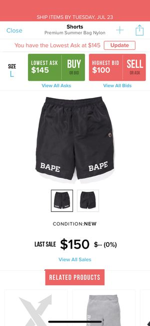 Bape summer shorts size large and XL 140 each for Sale in Windermere, FL