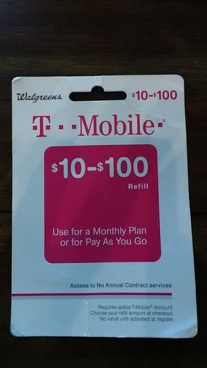 $75 T-Mobile Refill Card for $50 for Sale in Lynchburg, VA