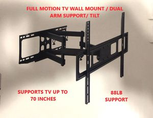 Brand new tv wall mount / full motion / dual arm support / supports tv between 32-70 in 88lbs for Sale in San Antonio, TX