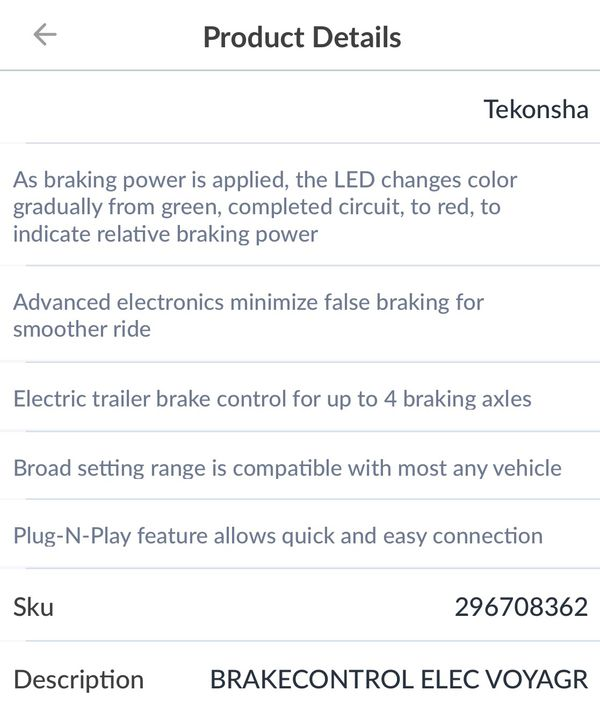 Voyager Proportional Brake Control for trailer