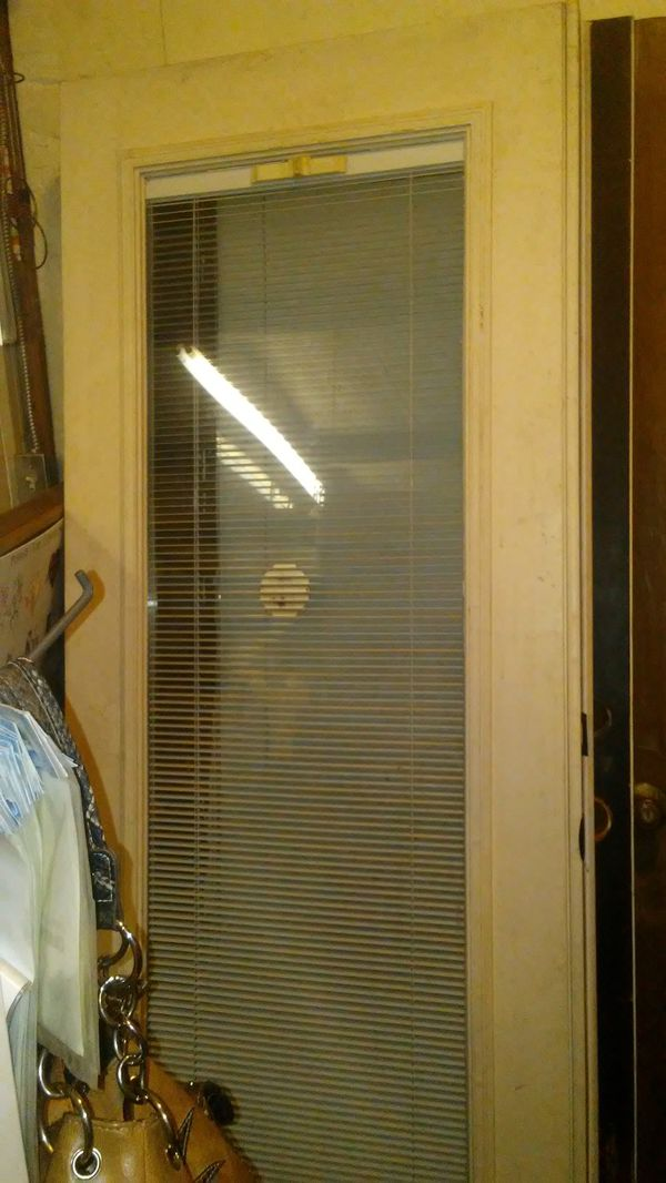 Set of French doors with blinds