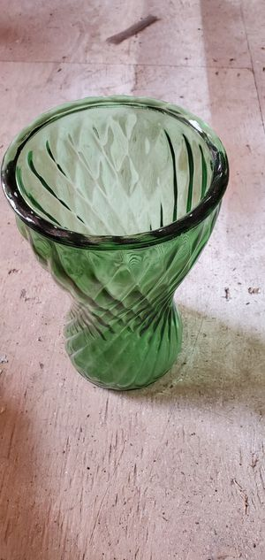 Green spiral blown glass vase for Sale in Arvada, CO