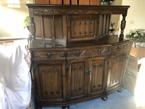 Antique Gothic Tudor Oak Court Buffet Cabinet for Sale in Raleigh, NC