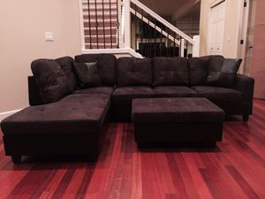 Charcoal microfiber sectional couch and ottoman for Sale in Mercer Island, WA
