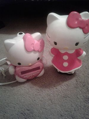 Hello kitty clock & piggy bank for Sale in Durham, NC