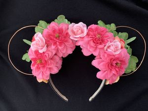 Minne Mouse ear floral headband Pink Green Disney Party for Sale in Encinitas, CA