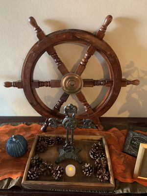Ship wheel with brass center home decor for Sale in Ontario, CA