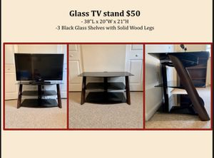 TV Stand (Stained glass shelves and Solid wood frame) for Sale in Erie, PA