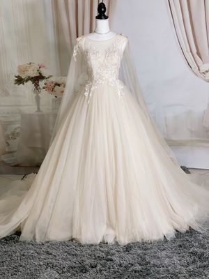 Nude lace&tulle wedding dress with cape/ Quinceanera&Sweet 16 dress for Sale in Fort Lauderdale, FL