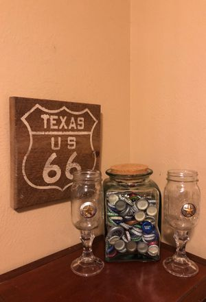 Texas rustic sign amazing jar bottle caps Texas mason jars for Sale in Katy, TX