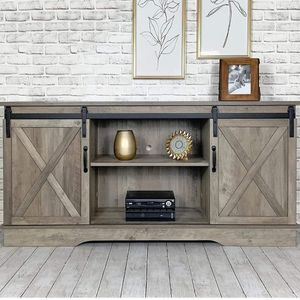 Washed Oak Living Room TV Stand Sliding Barn Door Design up to 65 inch TV for Sale in Corona, CA