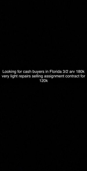 Investors!!! Looking for cash buyer in Florida selling assignment ARV 180k priced at 20k for Sale in Sebring, FL