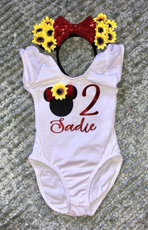Minnie Mouse Red/Sunflower Birthday Leotard & Headband Ears for Sale in Long Beach, CA