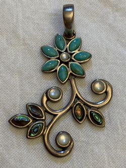 Barse 925 Sterling Silver Turquoise Abalone Shell Mother Of Pearl Flower Pendant For Necklace for Sale in Houston,  TX