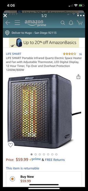 LIFE SMART Portable Infrared Quartz Electric Space Heater and Fan with Adjustable Thermostat, LED Digital Display, 12 Hour Timer, Tip-Over and Overhe for Sale in San Diego, CA