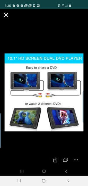 TWO'CUTRIP 9 Inch Dual Screen Portable DVD Player, 5 Hours Built-in Rechargeable Battery, Support USB/SD, Region Free CUTRIP for Sale in El Monte, CA