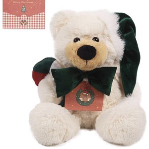 ARELUX Christmas Teddy Bear 16 inches,White Plush Stuffed Animal Bear with Santa Hat,Bows and Candy Cane for Sale in Brooklyn, NY