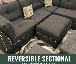 Black 3Pcs Sectional Sofa w/Ottoman + 2 Pillows 📌We Finance 📍Se Habla Español for Sale in Las Vegas,  NV