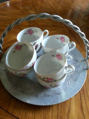 8 fine bone china antique cups on vintage tin cake tray for Sale in Renton, WA