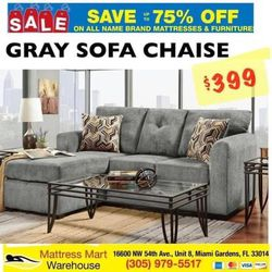 SOFA CHAISE $399 GRAY Or CHOCOLATE for Sale in Opa-locka,  FL