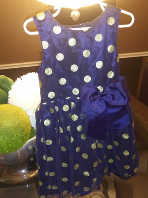 H&M girls dress size 5 -6 yrs. Dark blue with gold dots for Sale in Round Rock, TX