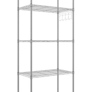 5-Tier Wire Shelving Unit Kitchen Storage Shelf Adjustable Free Standing Rack with Side Hooks (Silver, 5-Tier) for Sale in Brooklyn, NY